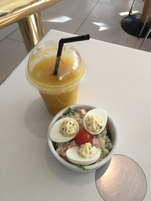 Our snack at the cafe(Smoothie and deviled eggs)