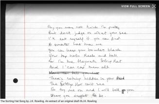 Original manuscript from JK Rowling. The sorting hat song.