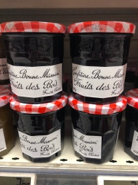 "Jam made from wild berries. There is also a jam made from wild strawberries only. ""Fruit des bois"" is technically translated as ""fruits of the woods/forest."""